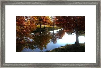 Duck Pond In The Fall Framed Print by Rebecca Lynn Roby