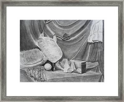 Duck Study On A Table Framed Print