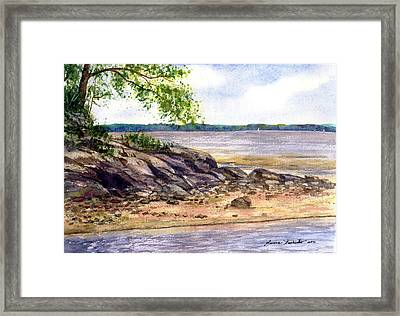 Duck Trap River Outlet Framed Print by Laura Tasheiko