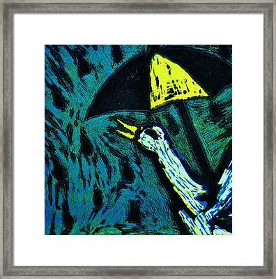 Duck With Umbrella Blue Framed Print by Lucy Deane