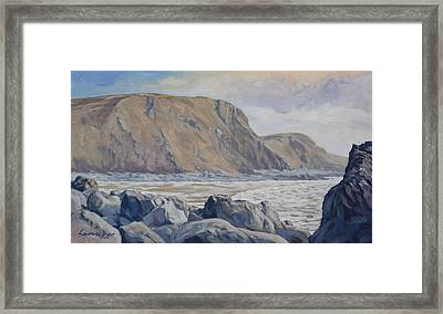 Framed Print featuring the painting Duckpool Boulders by Lawrence Dyer