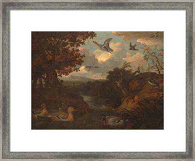 Ducks And Other Birds About A Stream In An Italianate Landscape Framed Print
