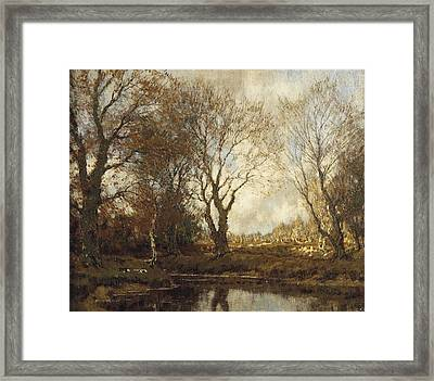 Ducks Near A Pond In Autumn Framed Print by MotionAge Designs