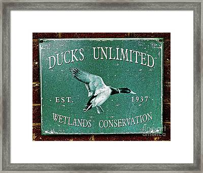 Ducks Unlimited Vintage Sign Framed Print