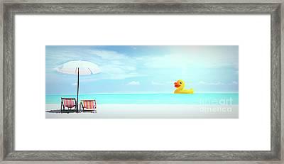 Ducky's Day At The Beach Framed Print