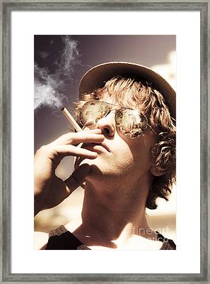 Dude Smoking Cigarette Framed Print