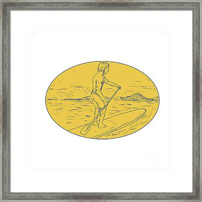 Dude Stand Up Paddle Board Oval Drawing Framed Print by Aloysius Patrimonio