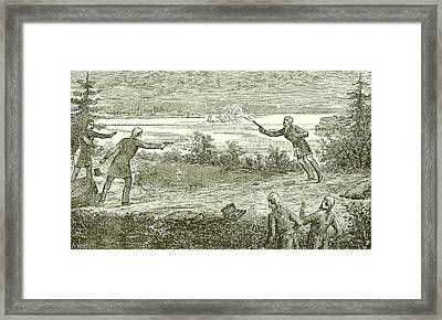 Duel Between Alexander Hamilton And Aaron Burr Framed Print by American School