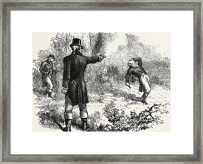 Duel Between Burr And Hamilton Framed Print by American School