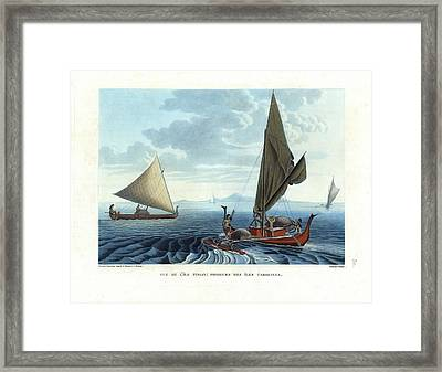 Framed Print featuring the drawing Dugout Outriggers From The Carolines Seen On Tinian Island by d apres A Berard and A Taunay
