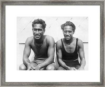 Duke And Sam Kahanamoku Framed Print by Underwood Archives
