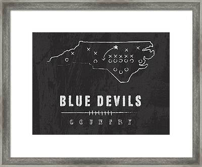 Duke Blue Devils / Ncaa College Football Art / Durham North Carolina Framed Print by Damon Gray