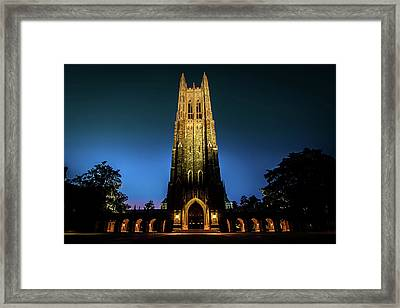 Duke Chapel Lit Up Framed Print