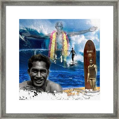 Duke Kahanamoku  Framed Print by Carl Gouveia
