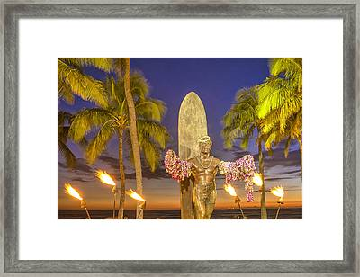 Duke Kahanamoku Statue Framed Print by Christian Heeb