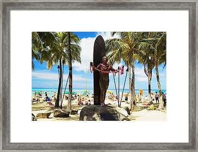 Duke Kahanamoku Statue Framed Print by Mary Van de Ven - Printscapes