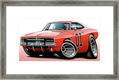Dukes Of Hazzard General Lee Framed Print by Maddmax