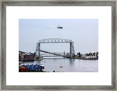 Framed Print featuring the photograph Duluth Lift Bridge On A Grey Day by Ron Read