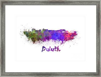 Duluth Skyline In Watercolor Framed Print by Pablo Romero