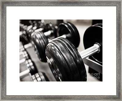 Dumbbell Weights Rack At A Healthclub  Gym  Framed Print by Paul Velgos
