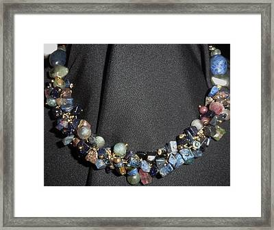 Dumorite, Goldstone Cluster Necklace Framed Print