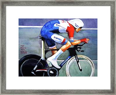 Dumoulin Wins The Time Trial Framed Print by Shirley Peters