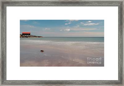 Dunaverty Bay Boathouse Framed Print by Maria Gaellman
