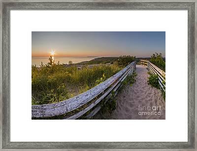Dune Boardwalk At Sunset Framed Print