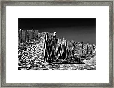 Dune Fence, Black And White Framed Print