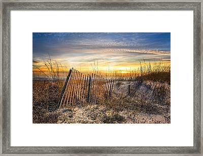 Dune Glow Framed Print by Debra and Dave Vanderlaan