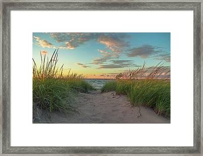 Dune Path At Sunset Framed Print