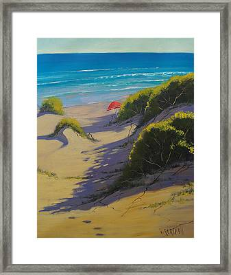 Dune Shadows Nth Entrance Beach  Nsw Australia Framed Print