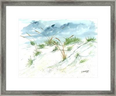 Dunes 3 Seascape Beach Painting Print Framed Print by Derek Mccrea