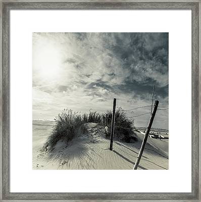 Dunes And Wood Fence On The North Sea Beach Framed Print by Kaan Sensoy