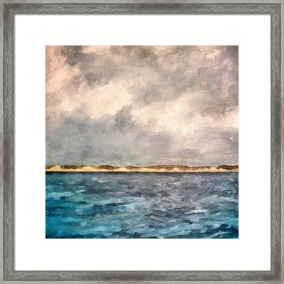 Dunes Of Lake Michigan With Rough Seas Framed Print by Michelle Calkins