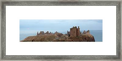 Framed Print featuring the photograph Dunnottar Castle Moonrise Panorama by Grant Glendinning