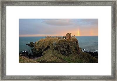 Framed Print featuring the photograph Dunnottar Castle Sunset Rainbow by Grant Glendinning