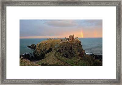 Framed Print featuring the photograph Dunnottar Castle Sunset Rainbow by Grant Glendinning