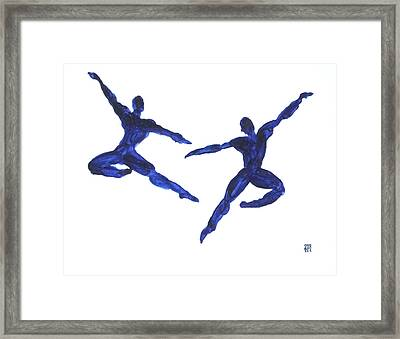 Duo Leap Blue Framed Print