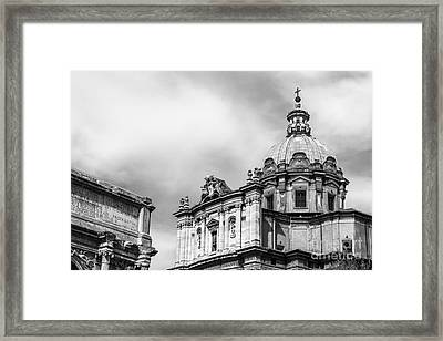Duomo Of Santi Luca E Martina And Arch Of Septimius Severus  Framed Print