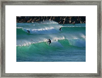 Duranbah Surfers Framed Print by Odille Esmonde-Morgan