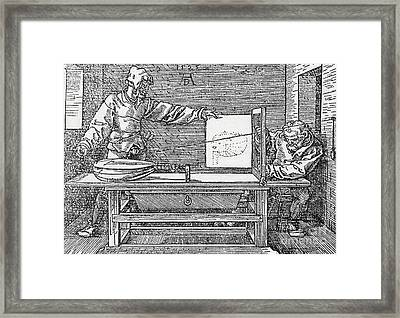 Durers Perspective Drawing Of A Lute Framed Print by Science Source