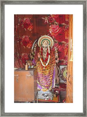 Durga At Neem Karoli Baba Ashram, Vrindavan Framed Print by Jennifer Mazzucco