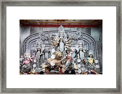 Durga Idol At Puja Pandal Durga Puja Festival Framed Print by Rudra Narayan  Mitra
