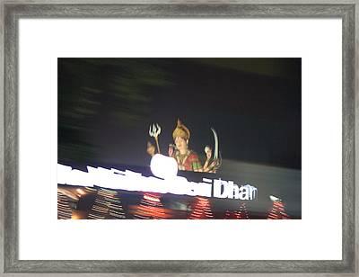 Durga Late Night From Rickshaw, Vrindavan Framed Print by Jennifer Mazzucco