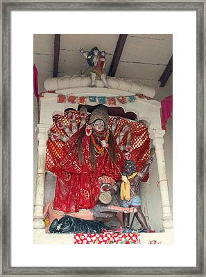 Durga On The Yamuna, Vrindavan Framed Print by Jennifer Mazzucco