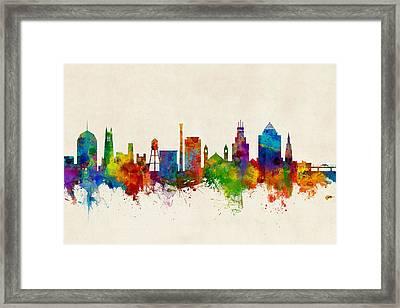 Durham North Carolina Skyline Framed Print