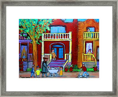 Durocher Street Montreal Framed Print by Carole Spandau