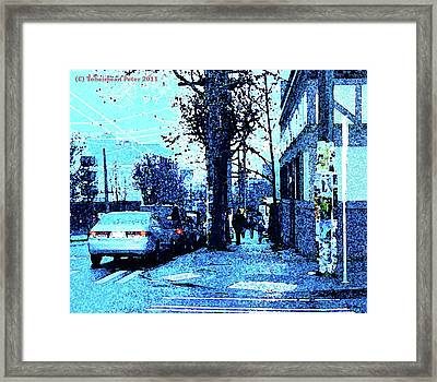 Dusk 14th And Pine Framed Print by Tobeimean Peter