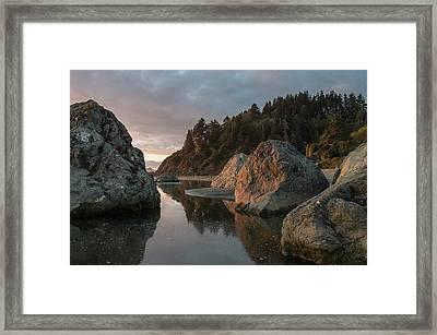 Dusk Among Little River Sea Stacks Framed Print by Greg Nyquist
